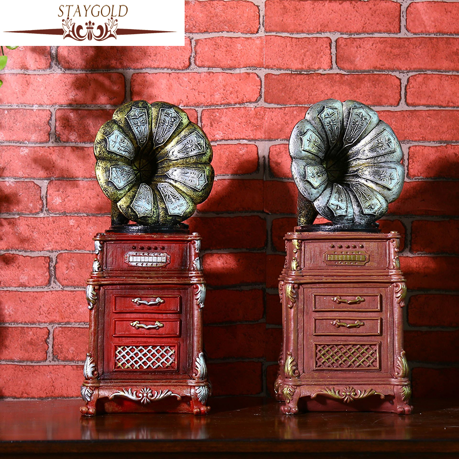 Shabby Chic Shop Us 20 87 28 Off Staygold Shabby Chic Antique Phonograph Piggy Bank Vintage Home Decor Coffee Shop Bar Decoration Props Wedding Decoration In
