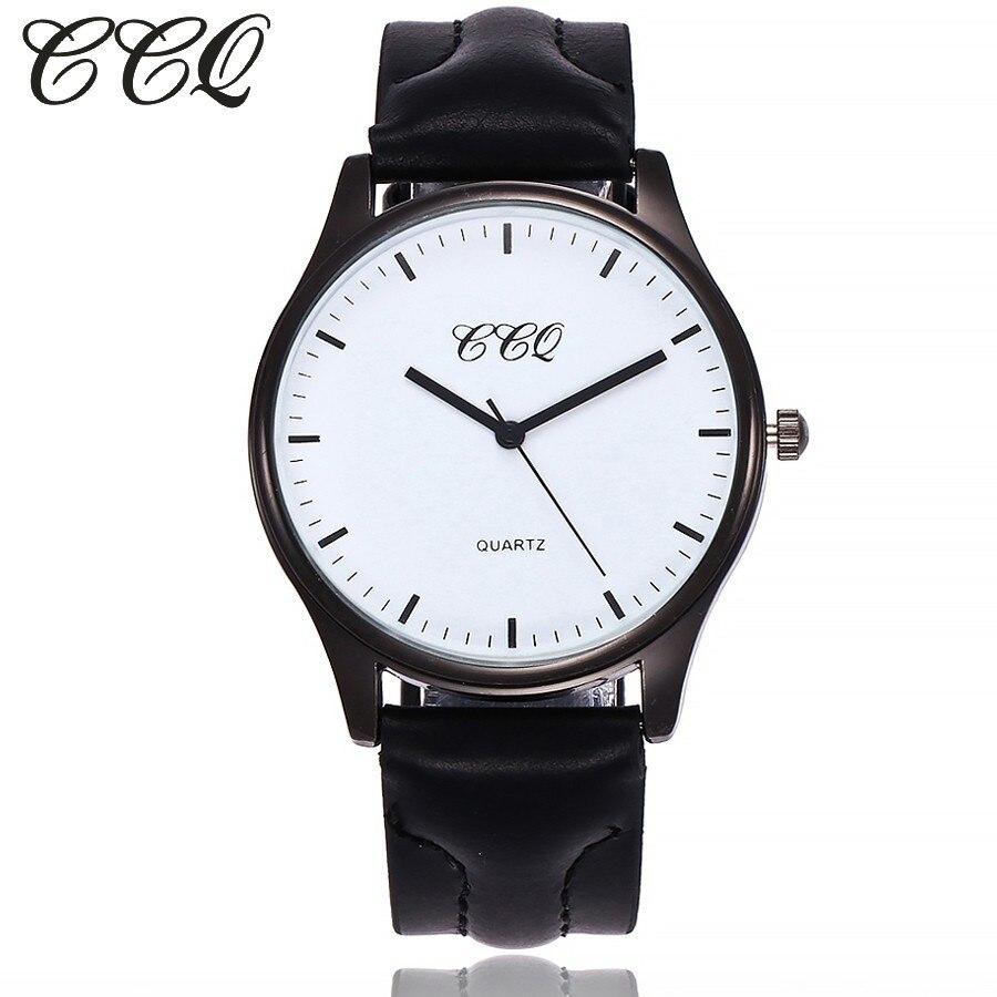 2017 ccq Для женщин Для мужчин часы Элитный бренд кожа черный чехол простой Часы часы Женский Человек Спорт часы Бизнес Часы подарок