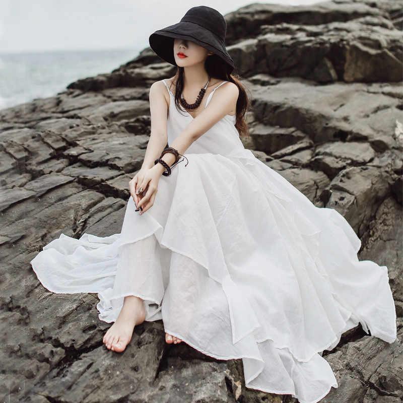 LANMREM/2019 г. летняя новая пляжная праздничная одежда одноцветная свободная, с большим подолом, без рукавов, Двухслойное сексуальное платье на бретельках QH9370