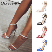 DEleventh Classics Sexy Women Red Wedding Shoes Peep Toe Stiletto High Heels Shoes Woman Sandals Black Red Nude Big Size 43 US10(China)