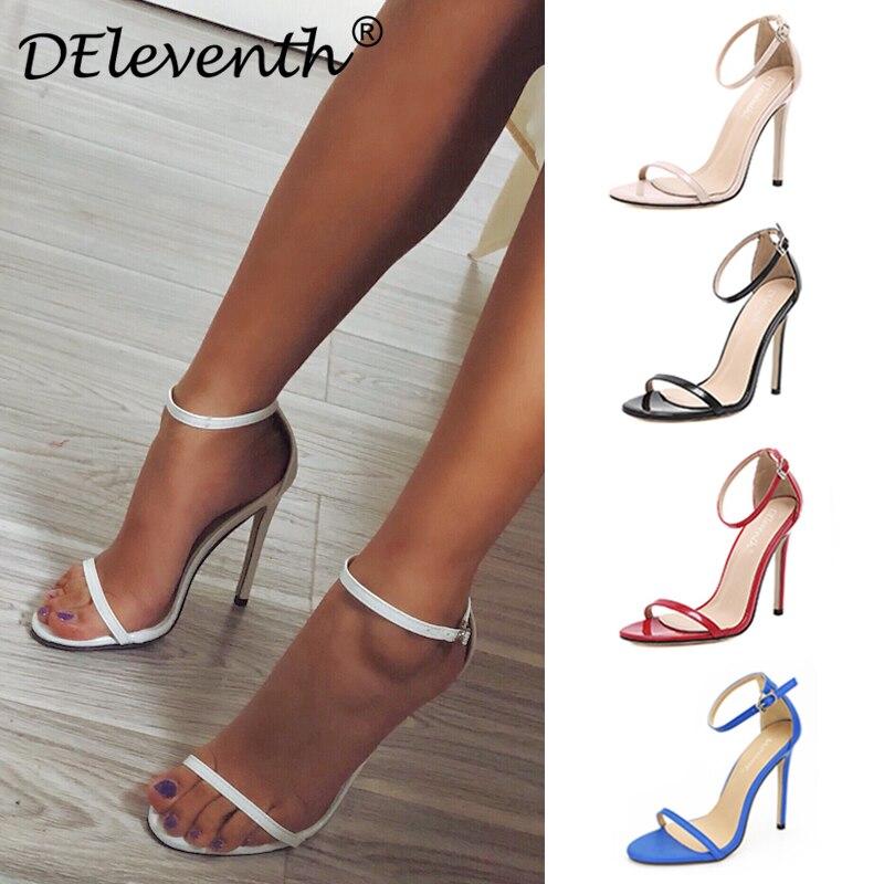 DEleventh/Классические пикантные Для женщин красный свадебные туфли открытый носок шпильках обувь на высоком каблуке женские босоножки черный, красный телесного цвета большой размер 43 US10