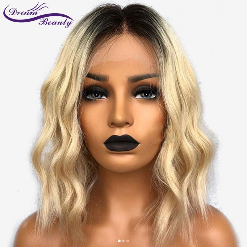 Dream Beauty Short Bob Human Hair Wigs 1b 613 Black Dark Root Ombre Blonde Wig Lace