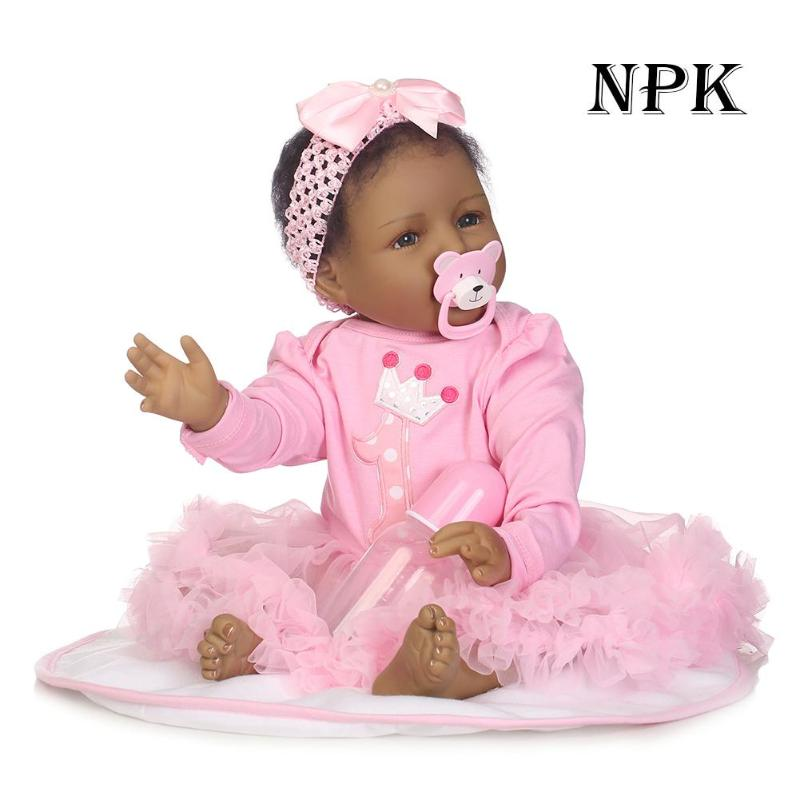 Black Skin Reborn Baby Girl Doll 3D Cute Soft Silicone Realistic Baby Dolls With Cloth Set Kids Accompany Playmate Toy GiftBlack Skin Reborn Baby Girl Doll 3D Cute Soft Silicone Realistic Baby Dolls With Cloth Set Kids Accompany Playmate Toy Gift