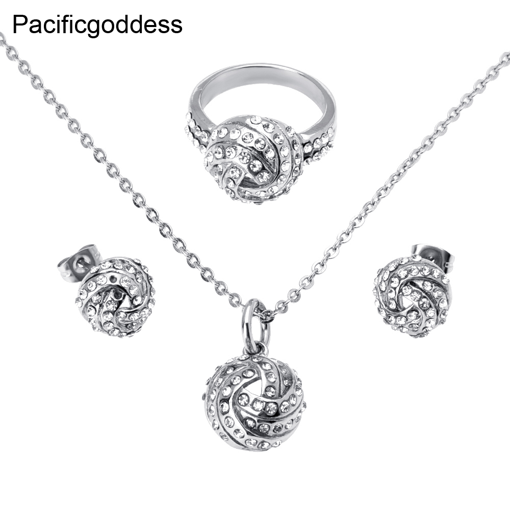 Pacificgoddess Fashion Ball Shape Stainless Steel Jewelry Set With fine Zircon Charm Women font b Rings
