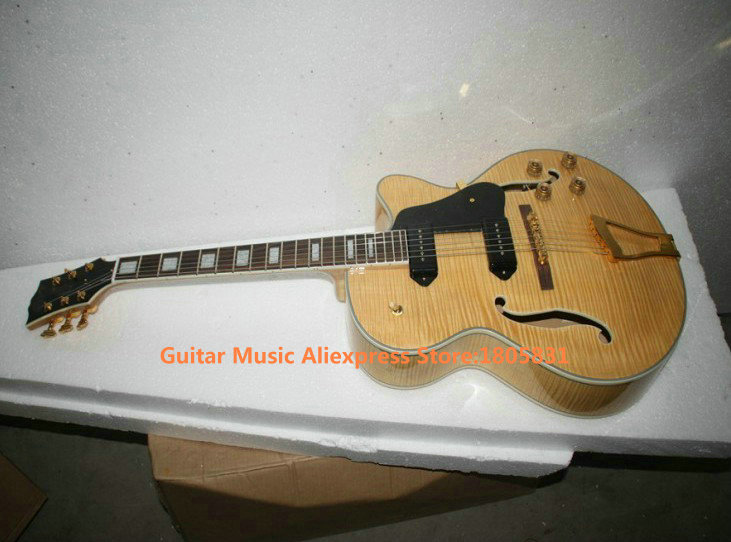 custom shop natural flame top hollow jazz guitar high quality wholesale guitars in guitar from. Black Bedroom Furniture Sets. Home Design Ideas