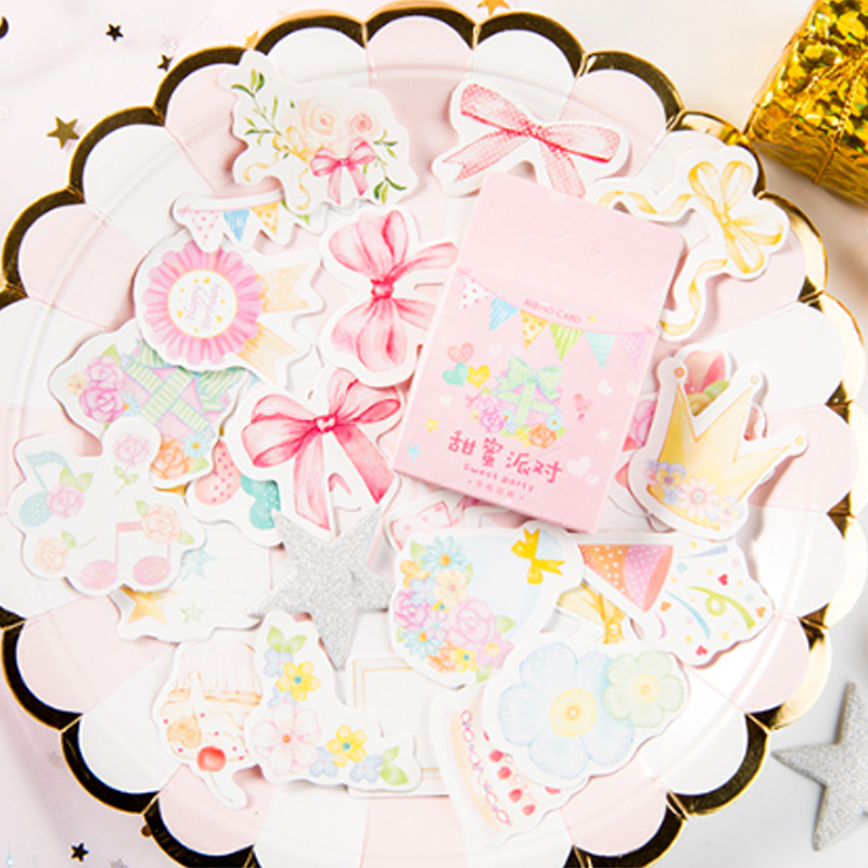 45 Pcs/lot Pink Sweet Party Cake Flowers Paper Sticker Decoration Stickers DIY Ablum Diary Scrapbooking Label Sticker