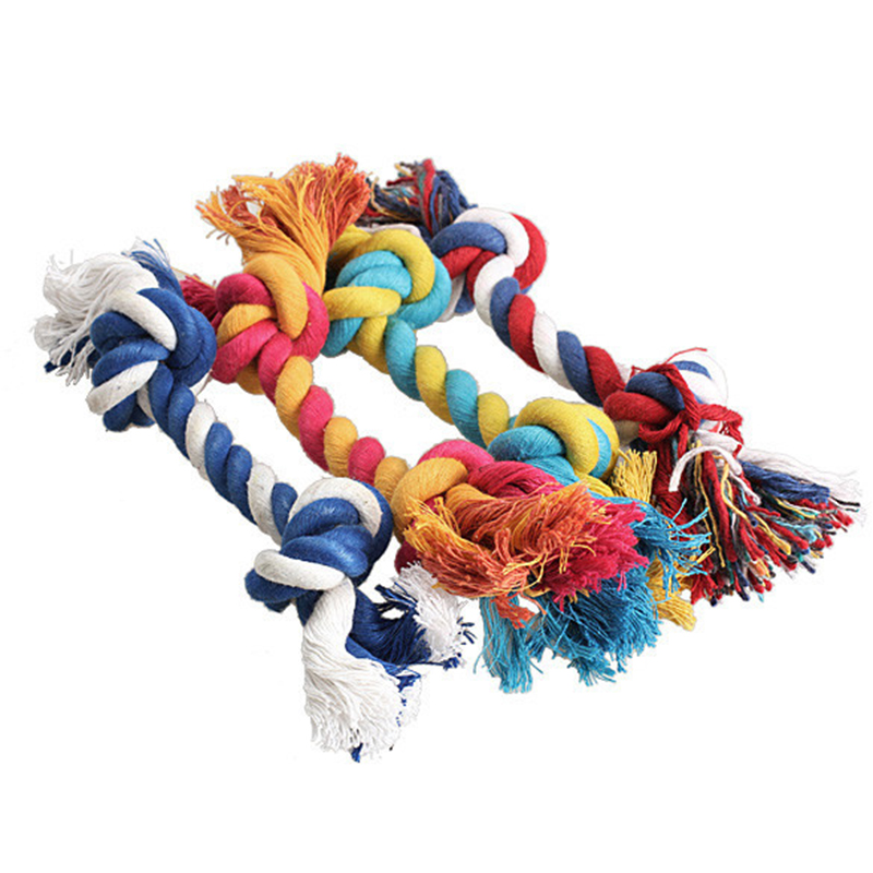 New Cotton Rope 1PCS Pets Dogs Pet supplies Dog Puppy Chew Knot Toy Durable Braided Bone Cat Random Color