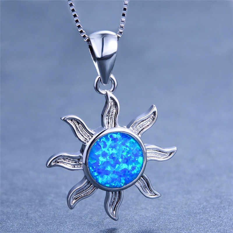 Бохо женское солнце ожерелье с подвесом цветок синий камень огненный опал ожерелье Мода 925 серебряные свадебные украшения