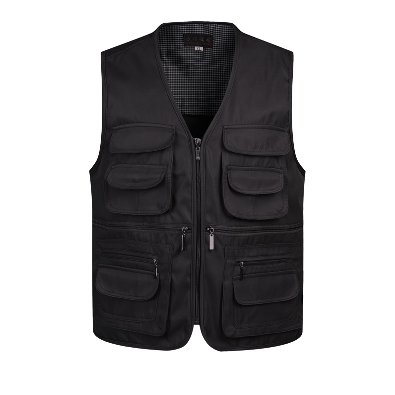 B 2019 Men Multi-Pocket Classic Waistcoat Male Sleeveless Unloading Solid Coat Work Vest Photographer Tactical Masculino Jacket