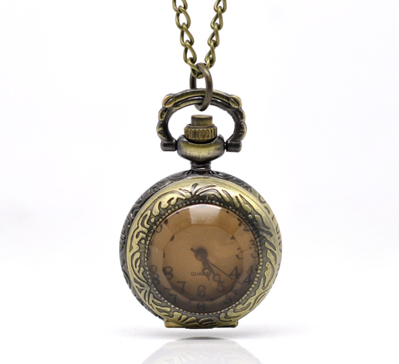 FUNIQUE Simulated Amber Women Pocket Watches Bronze Tone Necklace  Quartz Watch Steampunk Fullmetal Alchemist Clock Pendant 84cm top high quality fashion fullmetal alchemist quartz pocket watch sets with necklace ring set men women gifts box free shipping