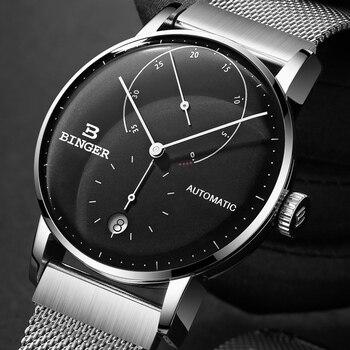 Switzerland BINGER Men Watch Luxury Brand Automatic Mechanical Mens Watches Sapphire Male Japan Movement reloj hombre B-1187-9