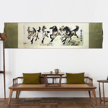 ShaoFu Chinese Silk Scroll Painting Canvas Wall Art Famouse Horse Riding Print Business Gifts