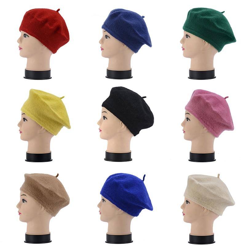 Lady Spring Winter Berets Hat Painter Style Hat Women Wool Vintage Berets Solid Color Caps Female Bonnet Warm Walking Cap 6c2930