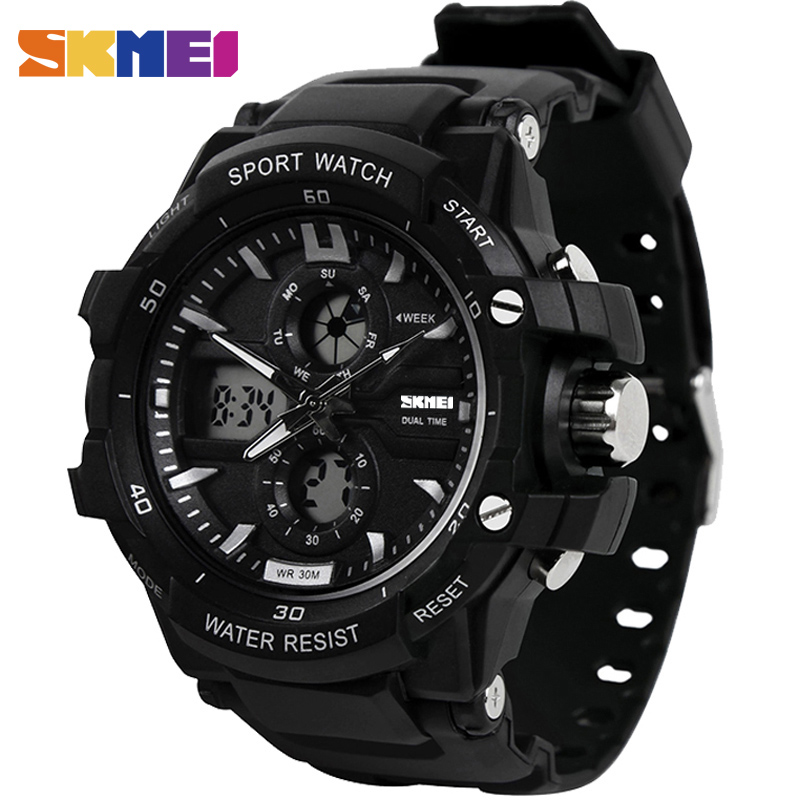 SKMEI Top Brand Luxury Sport Watch Men Digital Watches 5Bar Waterproof Military Dual Display Wristwatches Relogio Masculino 0990