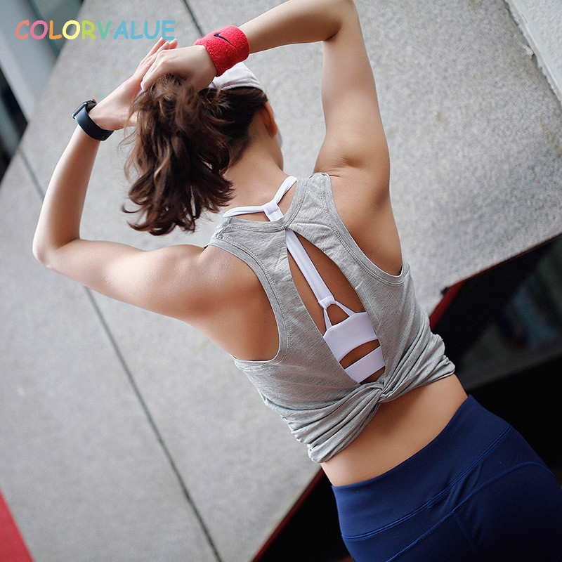 Colorvalue Chic Back Open Yoga Fitness Crop Top Women Slim Fit Wworkout Gym Tank Tops Kink Design Solid Running Athletic Vest chic scoop collar totem pattern lace spliced tank top for women