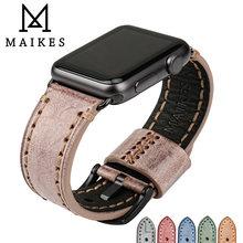 Ремешок maikes из натуральной кожи для apple watch винтажный