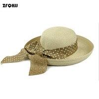 ZFQHJJ נשים ליידי קשר קשת נסיעות חופשה בהוואי Bowler פדורה טרילבי שווי קיץ חוף סאן קש דלי כובע