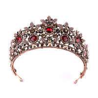 Baroque Bridal Crowns Pearls Red Rhinestone Princess Vintage Tiaras for Women Glitzy Wedding Hair Accessories Jewelry