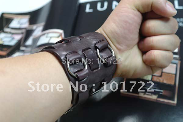 Handmade Leather Cuff Bracelet Men Punk Jewelry Wholesale Wide Mens Leather Bangle
