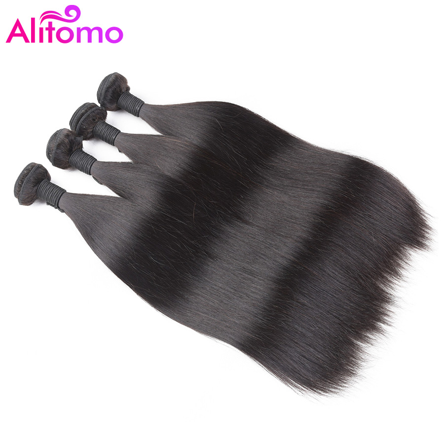 Beautiful Alitomo Straight Hair Bundles Peruvian Hair Weave Bundles 1/ 3/4 Bundle Hair Remy Human Hair Natural Color 10-28inch Human Hair Weaves