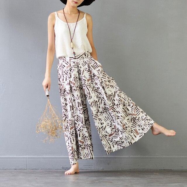 4ec1fc2e962 2017 Summer Trousers for Women Elastic Waist Vintage Print Loose Long  Cotton Wide Leg Pants Casual Beach Linen Pants