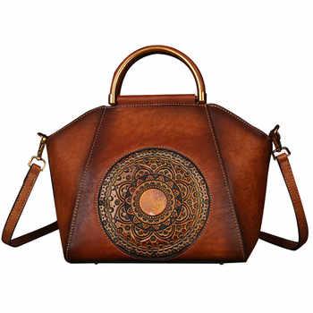 Nesitu Vintage Brown Grey-black Red Vegatable Tanned Genuine Leather Women Handbags Girl Messenger Bags Lady Shoulder Bags M1156 - DISCOUNT ITEM  50% OFF All Category
