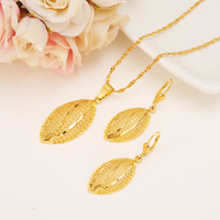 S T B Bead Necklace Pendant Earrings Melon Muscle Jewelry Set Ethiopian Party Gift 14 K Yellow Solid Fine Gold Filled Fashion