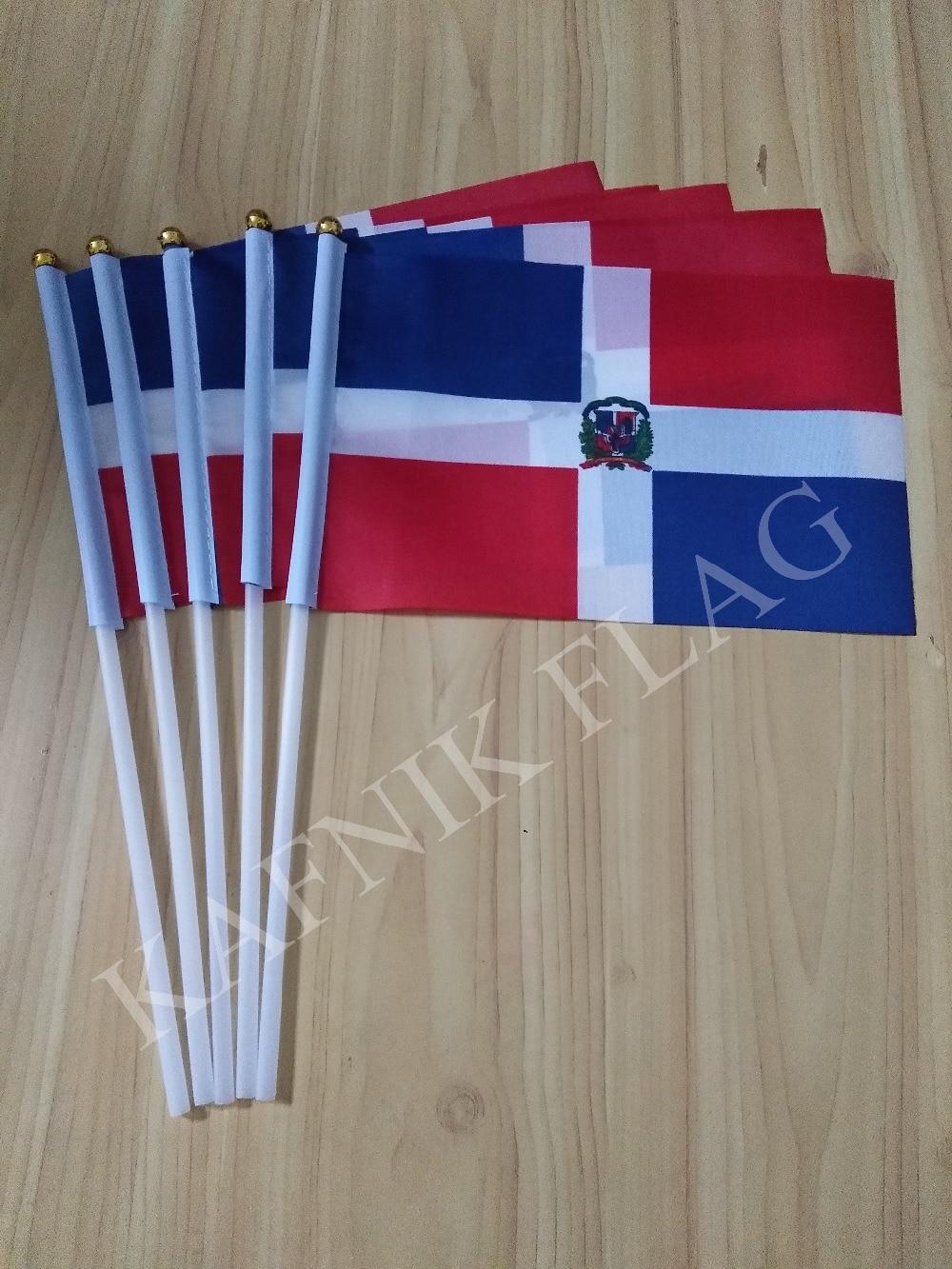 5 Stücke 14*21 Cm Dominikanische Republik Hand Flagge Dominikanische Republik Nationalen Flagge Kostenloser Versand Kafnik Fahnen, Banner & Zubehör Haus & Garten