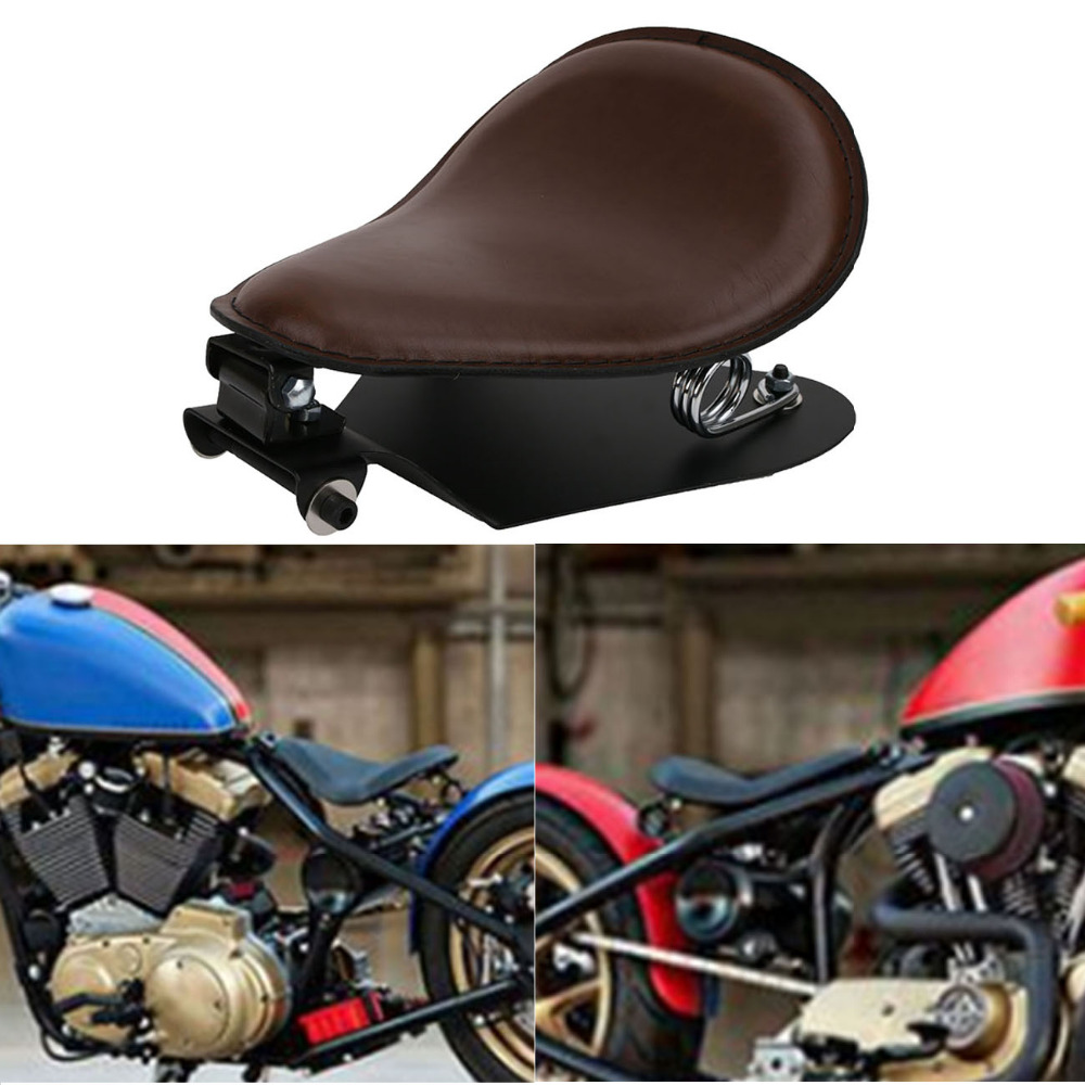 Cafe Racer Brown Motorcycle Solo Driver Seat & 3 Spring Bracket Kit for Harley Softail Sportster XL 883 1200 Iron 48 #MBJ019