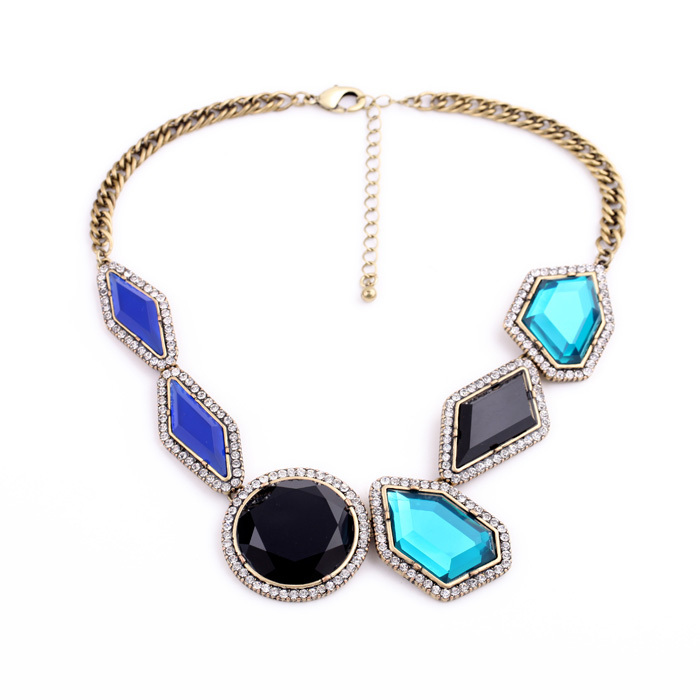 Major Suit Hot Jewelry Luxury Statement Accessories Noble Irregular Black Blue Many Gems Necklace