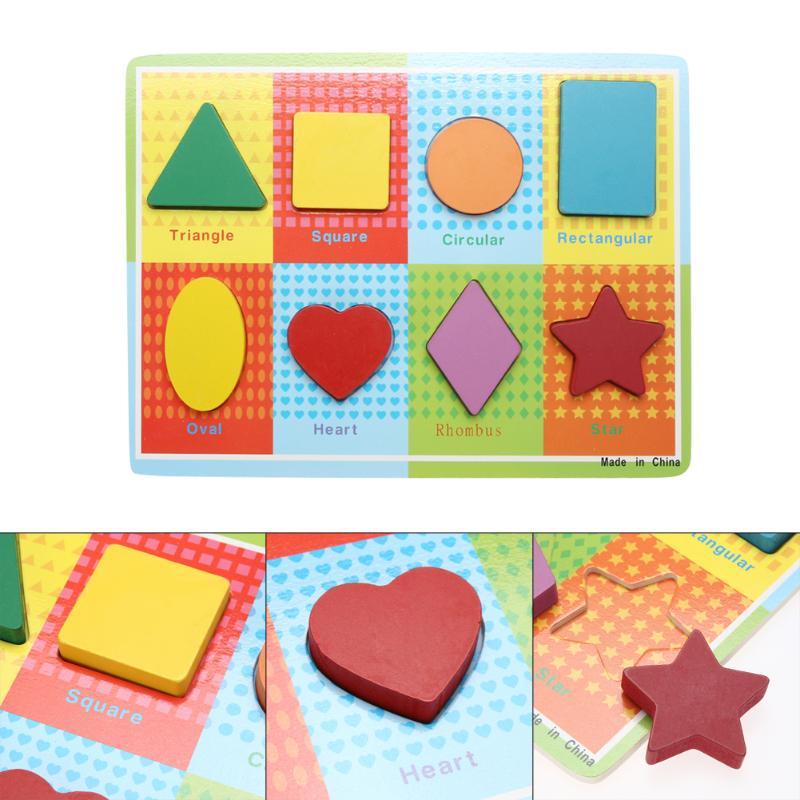 Деревянный 3D головоломки дерево геометрический Форма обучения ребенка Дети раннего образования логические Паззлы игрушка подарок настоящ...