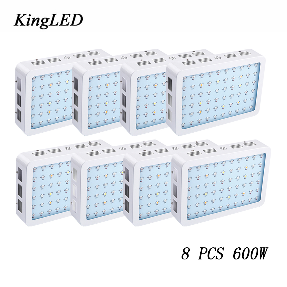8pcs KingLED 600W Double Chips LED Grow Light Full Spectrum For Indoor Plants and Flower Phrase Very High Yield LED Grow Light on sale black kingled double chips full spectrum led grow light 600w 800w 1000w 1500w for aquario hydroponic lamp high yield
