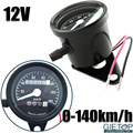 12V Motorcycle Motor Bike Retro Classic Refit Installation Mechanical Speedometer Odometer Black Background 0 140km/h