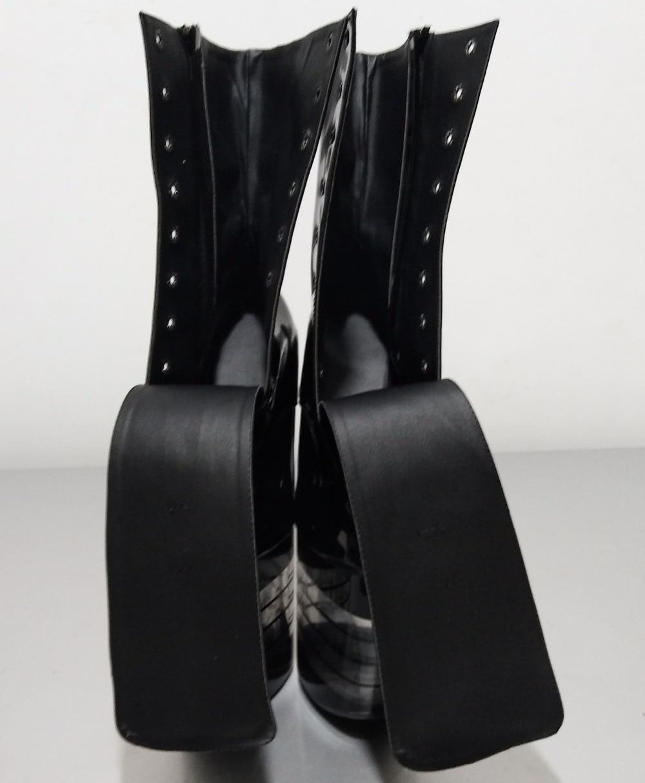 Damen 20 cm hohe ferse tanzen stiefel 8 zoll weibliche motorrad leder stiefeletten, kristall streifen wasserdichte plattform schuhe-in Knöchel-Boots aus Schuhe bei  Gruppe 2