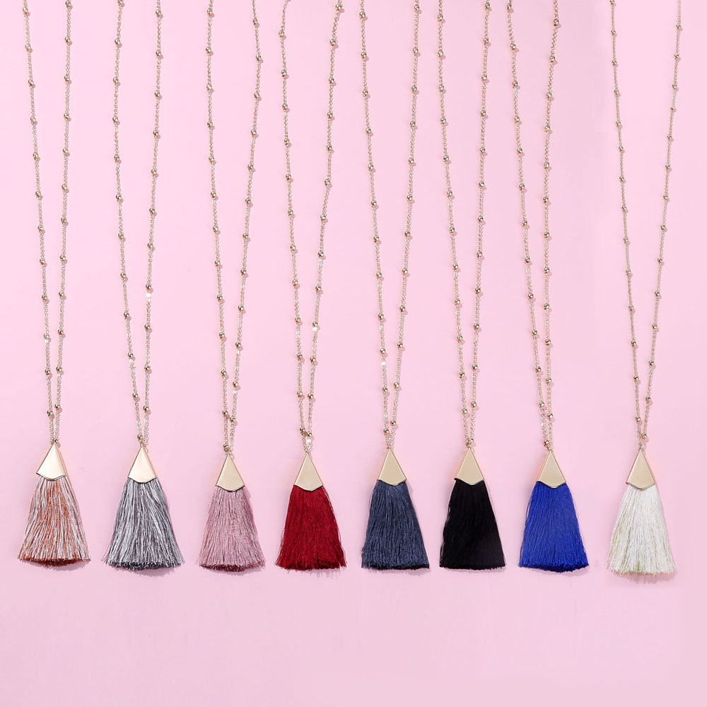 HUIDANG Fall Trendy 80cm Long Ball Link Chain Brushed Gold Cap Silk Fan Fringe Tassel Pendant Necklace