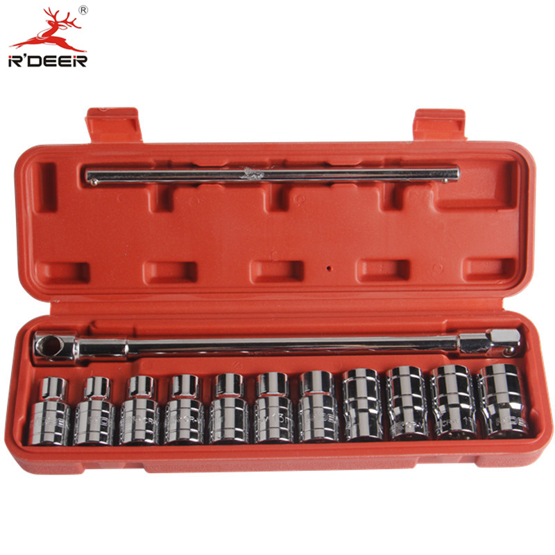 RDEER 13pcs Socker Wrench Set 1/2 Socket Adapter T-Shaped Chrome Vanadium Repair Tools free ship 44pcs set chrome vanadium steel amphibious socket wrench set spanner car ship machine repair service tools kit