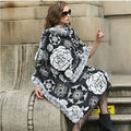 FASHION/100%  Mulberry silk 100% Real Rex Rabbit  Fur Plaid Shawl /cloak/ Poncho /Coat/ Cape/Wraps/Black