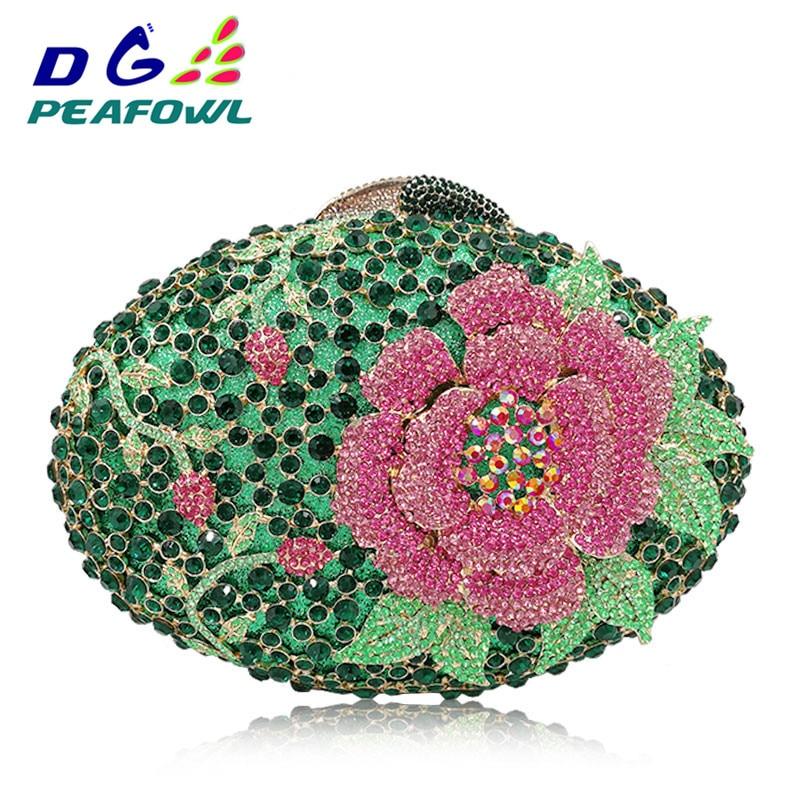 Mariage Main Green Cadeau Floral Gros Jour À Diamant Luxe De Fête Embrayages Soirée D'embrayage Sacs Cristal Pour Femmes silver Sac Maman Fleur RcyaOWRqd