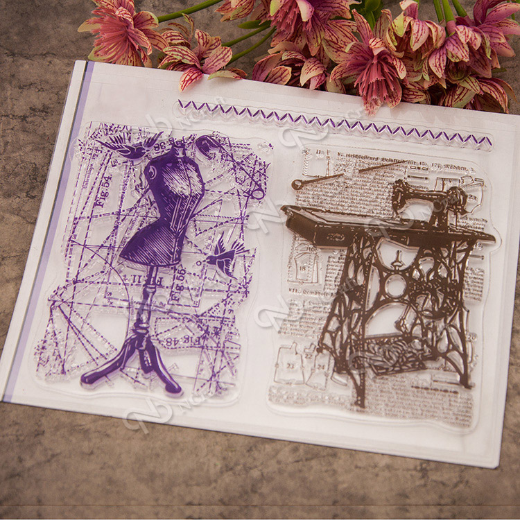 Sewing background pattern Scrapbook DIY photo cards account rubber stamp clear stamp transparent Cartoon seal stamps scrapbook diy photo cards account rubber stamp clear stamp finished transparent chapter wall decoration 15 18