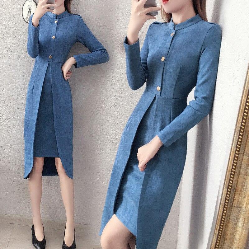 La robe des dames, en daim, 2019, nouvelle automne et d'hiver de mode, mince et élégant, longue tempérament robe femmes