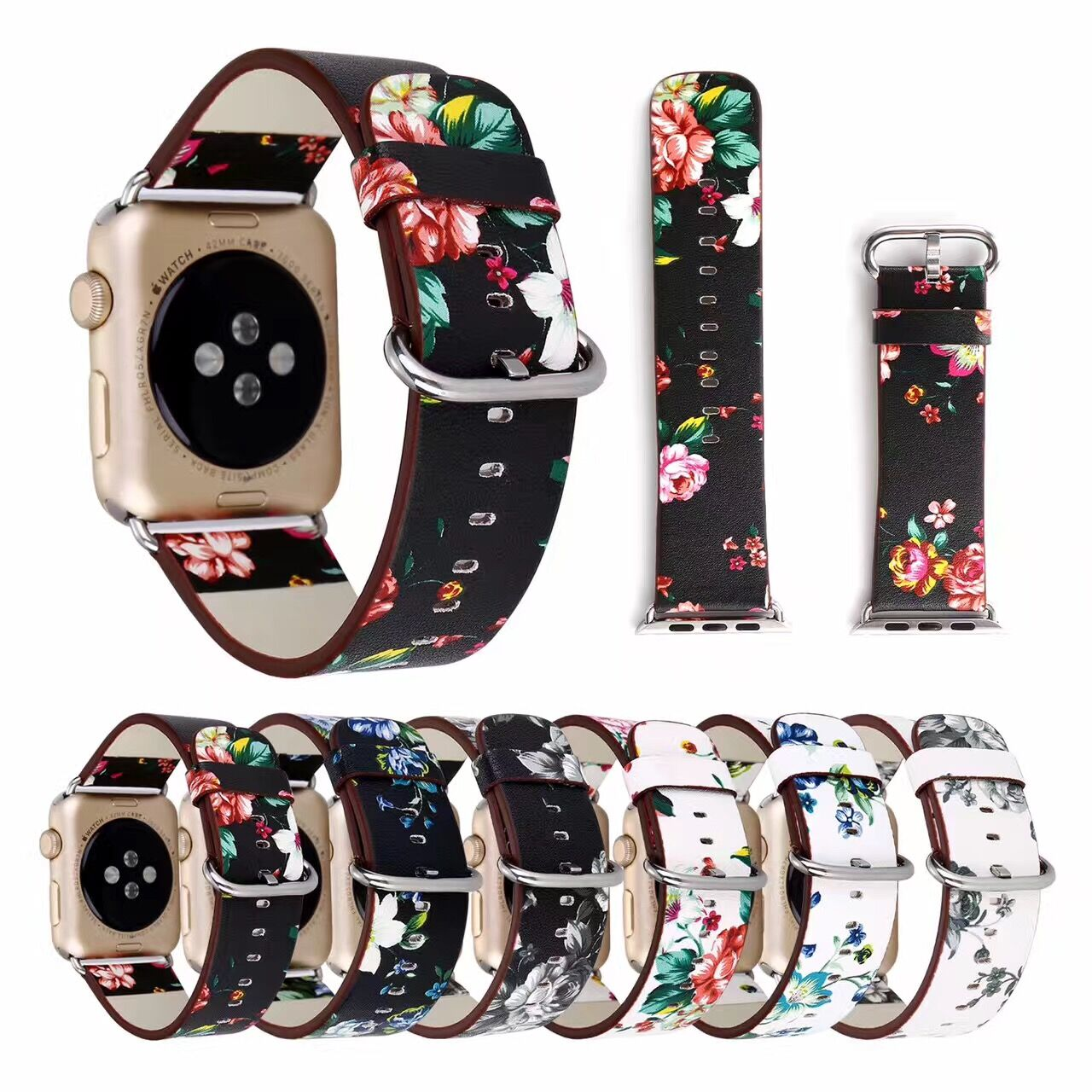 Floral Printed Leather Watch Band Strap for Apple Watch 42/38mm 40mm 44mm Flower Wristband Bracelet for iwatch series 4/3/2/1 ashei fashion flower design strap for apple watch 3 band leather series 2 1 floral printed bracelet 38mm for iwatch bands 42mm