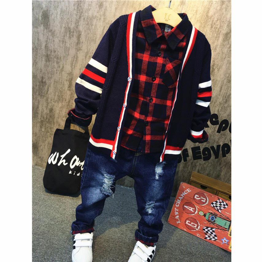 3pcs boys clothing set baby sweater red plaid shirt and hole jean set kids casual spring autumn clothes children 2-7 years old kids clothing set plaid shirt with grey vest gentleman baby clothes with bow and casual pants 3pcs set for newborn clothes