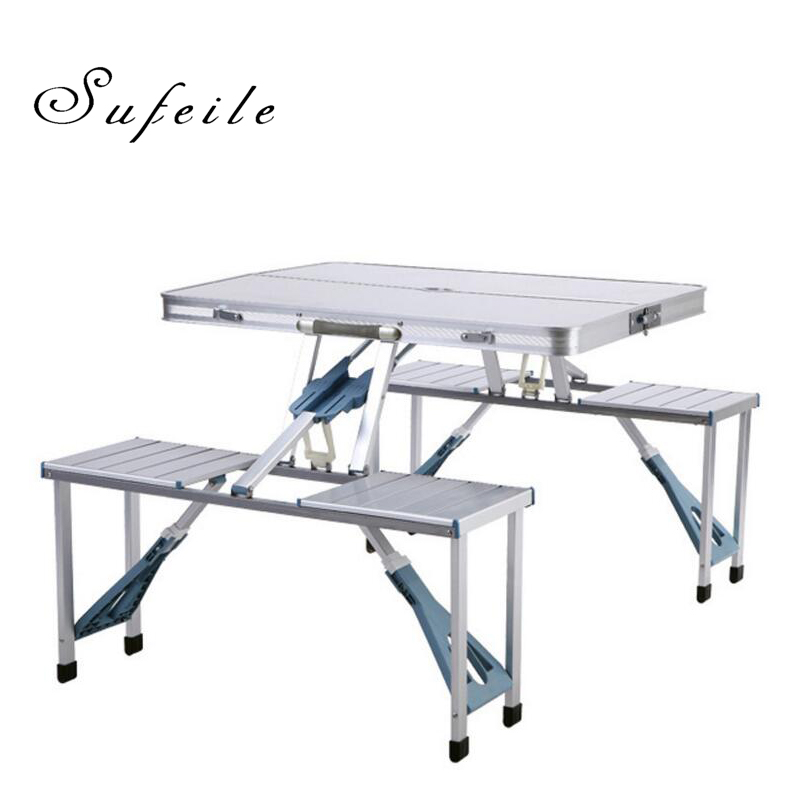 SUFEILE Outdoor Aluminum Folding Table Alloy Conjoined Folding Tables And Chairs Portable Folding Picnic Barbecue Table W5D20 the new portable outdoor folding table chairs aluminum suitcase suit
