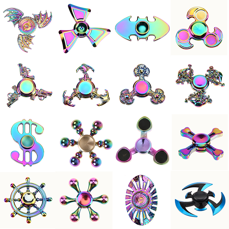 EDC Tri Fidget Spinner Rainbow Metal Hand Spinner Focus Gyro ADHD Autism Finger Spiner Toys for Children Birthday Gift pudcoco metal boys girls rainbow fidget hand finger spinner focus edc bearing stress toys kids adults