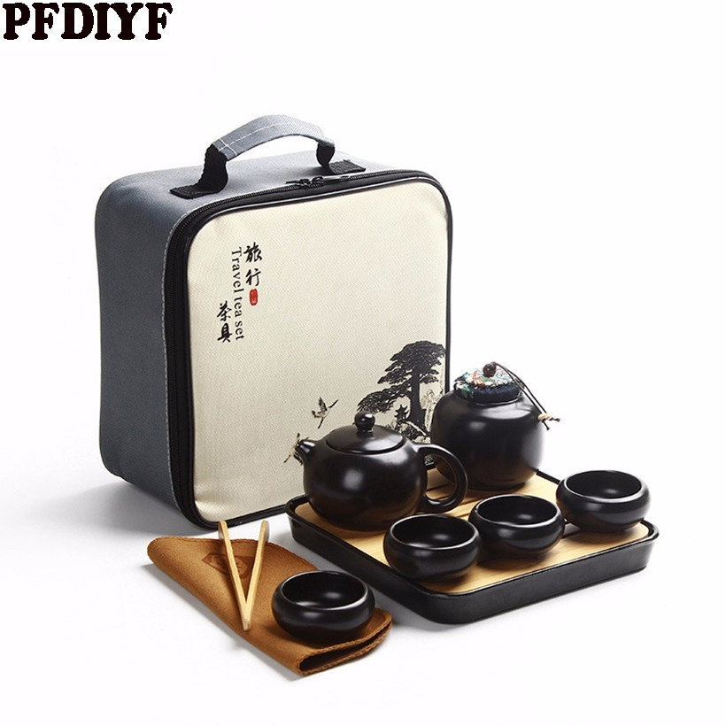 10Pcs Portable Travel Kung Fu Tea Set Ceramic Chinese Teapot Porcelain Teaset Gaiwan Tea Cups Of Tea Can Pot With Travel Bag
