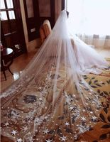 Beautiful and Well Designed Bridal Veil for Cathedral Wedding White and Ivory White Lace Veil Customized For Bridal