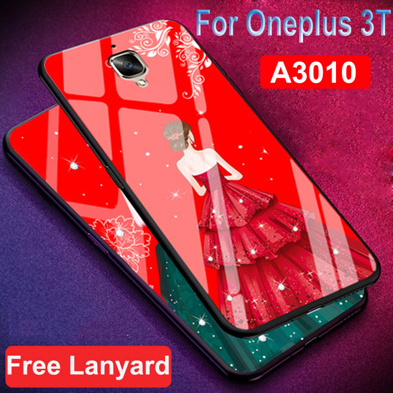 One Plus 3T A3010 case oneplus3T Girl pattern 1+3T Wedding dress Glossy Tempered Glass back cover Phone Case For OnePlus 3T