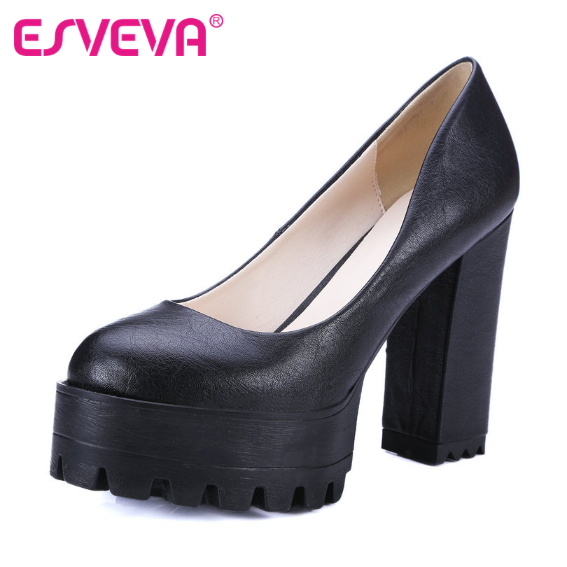ESVEVA British Style Slip On Platform Round Toe Women Pumps Square High Heels Autumn/Spring Girl Party Shoes Size 34-42 Gray 2017 shoes women med heels tassel slip on women pumps solid round toe high quality loafers preppy style lady casual shoes 17