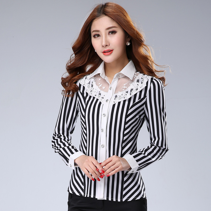 st199 New Summer Fashion Tops Casual Plus Size Long Sleeve Shirt Women Brand Quality White Black Striped Slim Chiffon Blouses - First Mall store