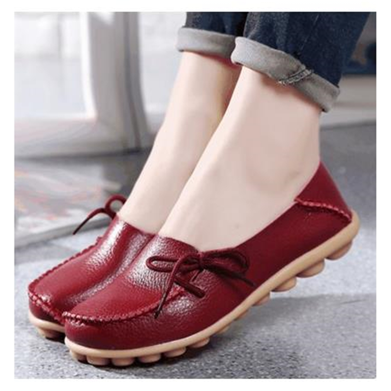 2016 spring and autumn single shoes genuine leather women's casual soft outsole quinquagenarian flat heel